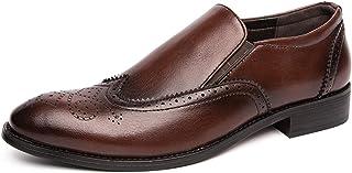 DADIJIER Mochila de Negocios para Hombres Almendro Toe Semi Brogues Synthetic Cuero Lados Elásticos Caucho Sole Block Tacó...