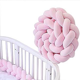 Trenzado Cuna Bebe Parachoques 2m Protector Cama Bebé Cojín Nudo Almohada Serpiente Protector Para Cunas (Rosa)