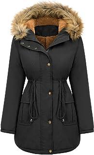 Gwewei4df Womens Hooded Warm Winter Thicken Fleece Lined Parkas Winter Coat Warm Puffer Thicken Parka Jacket Outwear Winte...