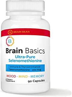 Brain Basics Ultra-Pure Selenomethionine | Proper Thyroid Function and Immune System Support | 200 mcg Most Bioavailable S...