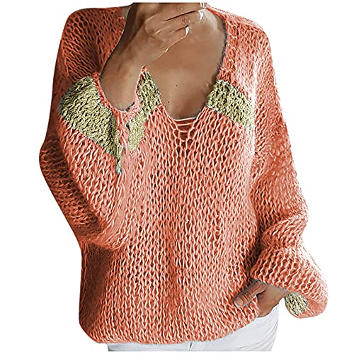 Hailmkont Jersey de punto para mujer, vintage, cuello en V, elegante, manga larga, jersey para otoño, Rosa-25, M