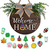 OurWarm Seasonal Welcome Sign Front Door Porch Decor, Interchangeable Rustic Wood Wall Hanging Porch Decorations for Halloween, Christmas, Farmhouse Outdoor Decor, Housewarming Gifts, 11.8' Round