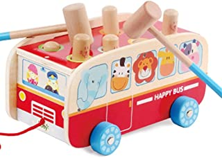 HTJSDC Wooden baby toys with hammer Early Learning instrument gift sound dragging toy as picture (Color : A*2)