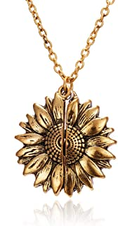 CXIANG Fashion Sunflower Double-Layer Engraved Pendant Necklaces For Women Round Open Gold Long Chain Charm Necklace Women...