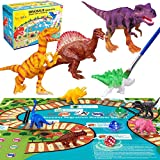 Dinosaur Toy Figures with Play Mat,DIY Painting Kit,Creative Educational Toys with 15 Realistic Looking Dinosaurs for 3 4 5 6 7 8 Years Boys Girls Kids Birthday Gift (B)