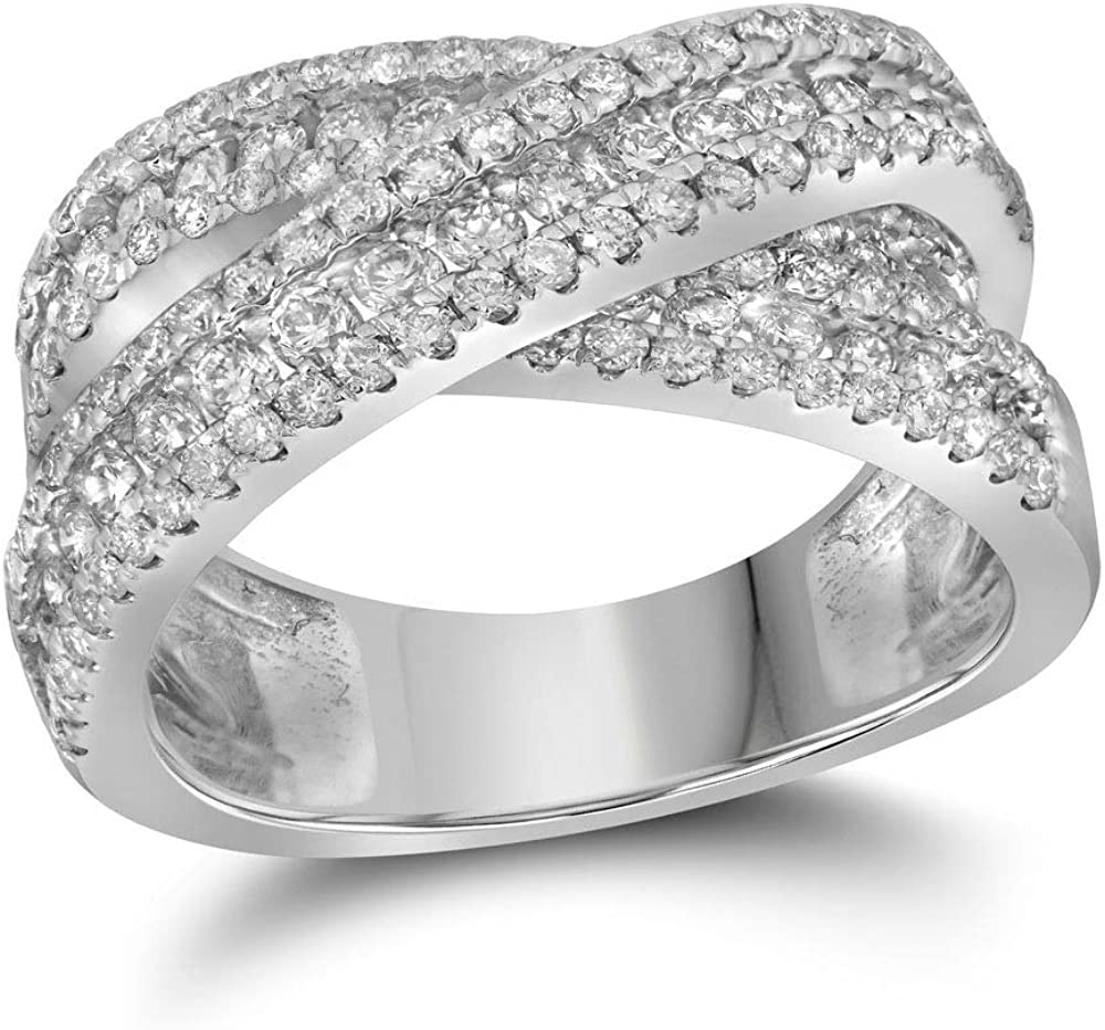 14k White Max 61% OFF Gold Womens Round Diamond 2-1 Ct 3 Ring Over item handling ☆ Crossover Band