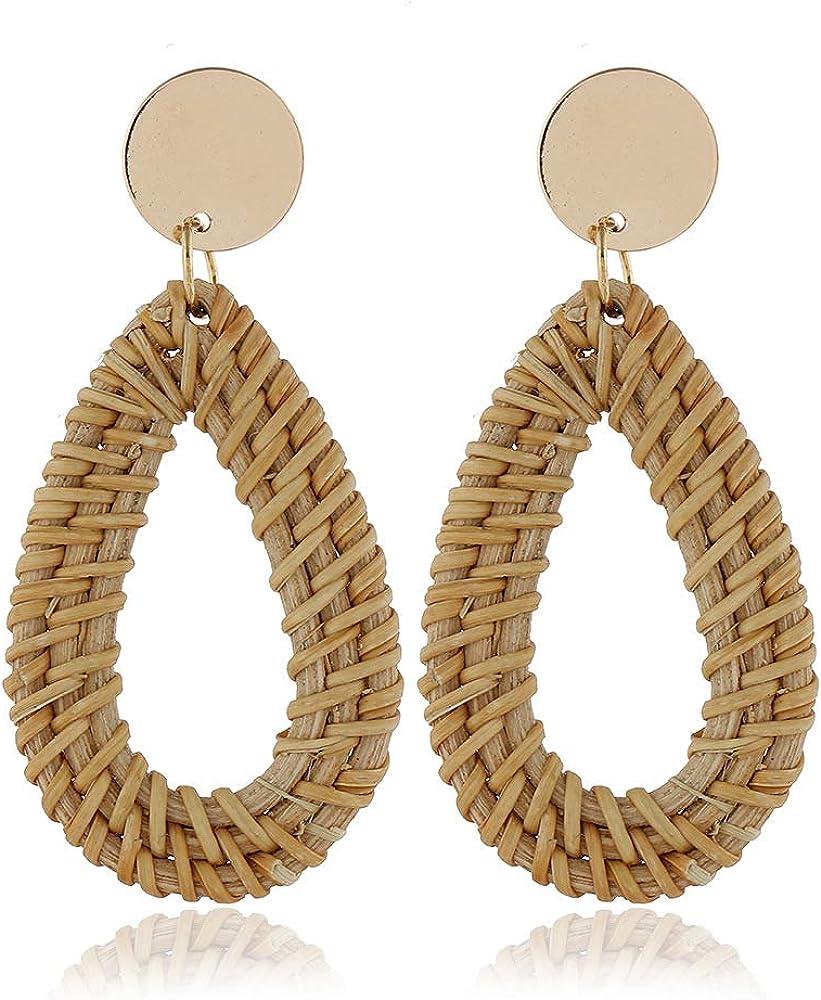 Bohemian Ethnic Style Retro Geometric Vine Hand-Woven Beach Water Drop/Rhombus/Round Style Rattan Earrings for Women Girls