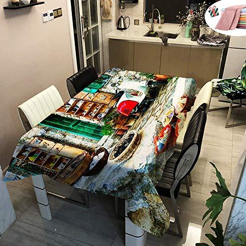WEHOLY Nappes imperméables Rectangulaire Easy Wipe City Housse de Table imprimée antitache pour Salle à Manger Garden Home Party Décoratif (Village Life, 90x90cm)