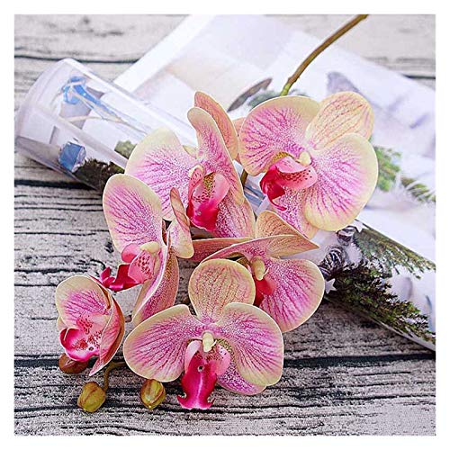 Künstliche Blumen Simulation 3D kleine Schmetterling Orchidee 6 köpfe/bündel Gefälschte Blume Hause vorhänge Wand Hochzeit Dekoration DIY Künstliche Phalaenopsis (Farbe : Pink)