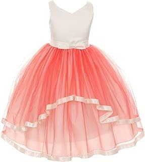 Little Girls V Neck Satin Bow 3 Layer Tulle Flowers Girls Dresses