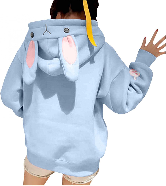 Cute Bunny Ear Hoodies for Womens Teens Girls Animal Cosplay Hoody Tops Sweatshirt Kawaii Rabbit Hoodie Jumper Sweater