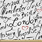 ABAKUHAUS England Stoff als Meterware, Hand Schriftzug