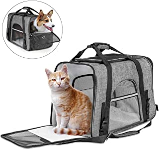 Fashion Pet Carrier Bag, Large Dog Cat Travel Carrier Bags Lightweight Collapsible Mesh Soft Side Dog Kennel Crate for Adu...