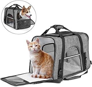 Fashion Pet Carrier Bag, Large Dog Cat Travel Carrier Bags Lightweight Collapsible Mesh Soft Side Dog Kennel Crate for Adu...