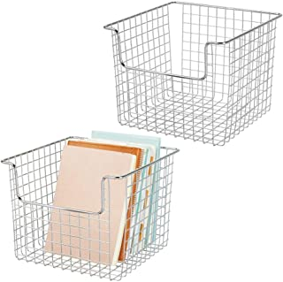 mDesign Juego de 2 cestas de almacenaje de alambre para el armario o el estante – Práctica caja de almacenamiento para coc...