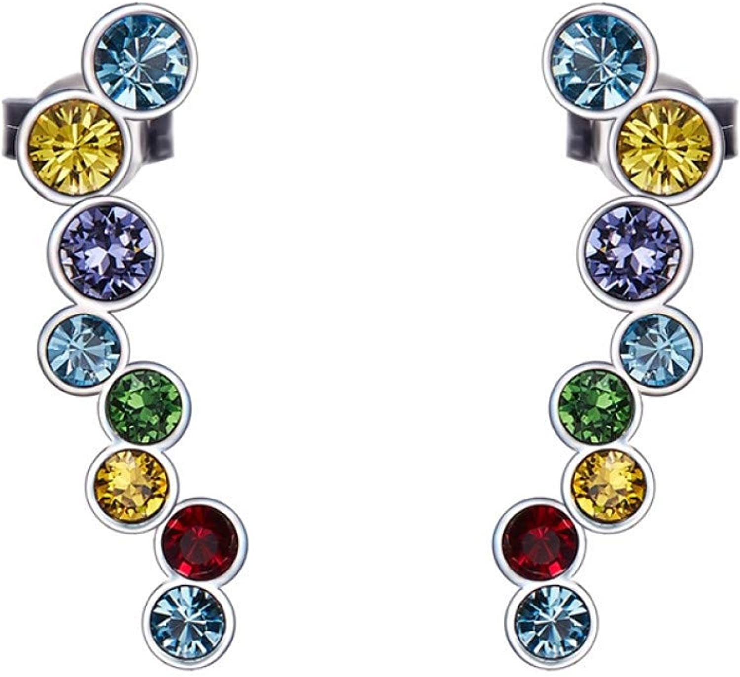 IUTING Crystals from Ear Cuff Silver Clip Earrings for Women Wedding Party Piercing