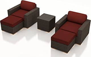Harmonia Living HL-ARD-CH-5CC-HN 5 Piece Arden Club Chair Set, Canvas Henna Cushions