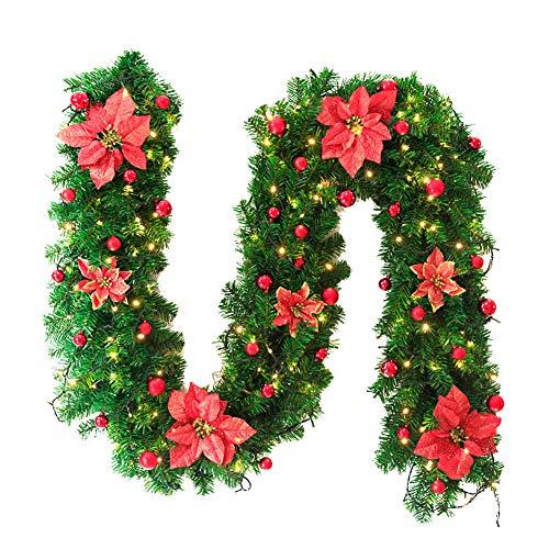 Shuda Guirnalda de Abeto Artificial Guirnalda navideña Verde 2.7m Guirnalda Decorativa con Bolas de Navidad y Flores Chimeneas Escaleras, PVC, Rojo, 25 * 270CM