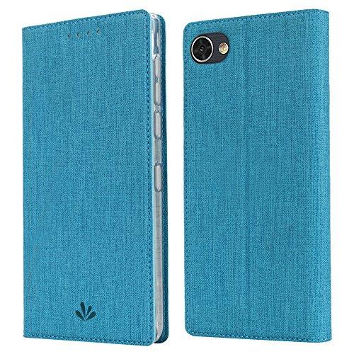 ViLi BlackBerry Motion Leder Tasche Flip Handyhülle Tasche Standfunktion Kartenfach Magnetverschluß Kartenhalter kristallklarer TPU Stoßstange Wallet Schutzhülle für BlackBerry Motion (Blau)