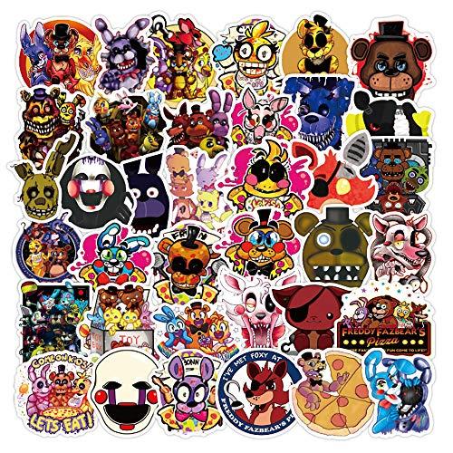 Potota FNAF Stickers| 50 PCS | Vinyl Waterproof Stickers for Laptop,Bumper,Skateboard,Water Bottles,Computer,Phone,Terror Game Stickers(Five Nights at Freddy's)