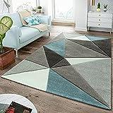 TT Home Tappeto Moderno a Pelo Corto per Soggiorno, con Taglio Sagomato, Design a Triangoli, Colori Pastello, Turchese, Größe:120x170 cm