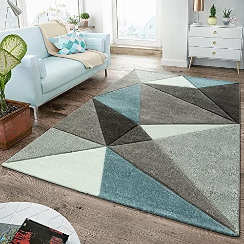 TT Home Alfombra Salón Moderna Pelo Corto Contorneado Diseño Triángulos Pastel Turquesa, Größe:160x230 cm