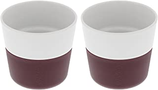 Eva Solo - Coffee Tumblers porcelain with Silicon sleeve -- Set of 2 (Lungo, Dark Burgundy)