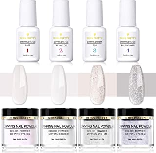 BORN PRETTY Dipping Nail Powder Starter Kit with Acrylic Powder and Gel Resin Dipping Set, Easy to Use French Dip Nail Powders Nail Color System UV/LED Light Free
