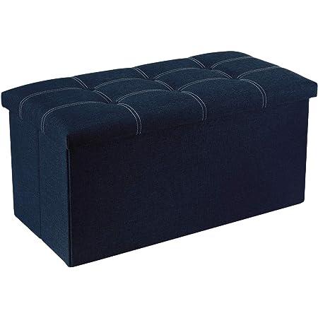 Amazon Com Seville Classics Foldable Tufted Storage Bench Ottoman Midnight Blue Furniture Decor