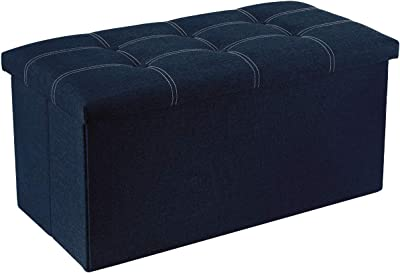 30 inches Storage Ottoman Bench 80L Storage Bench Foldable Footrest Shoe Bench with 80L Storage Space,Support 350lbs for Bedroom and Hallway Black