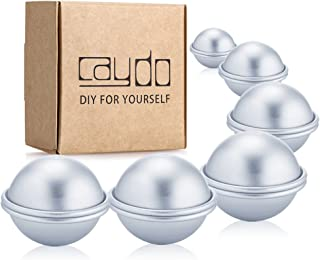 Caydo 6 Set 3 Sizes 4cm/ 5cm/ 6cm DIY Metal Bath Bomb Mold 12 Pieces for Crafting Your Own Fizzles