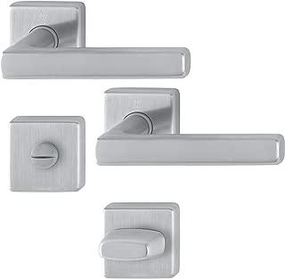Hoppe Dallas Door Handle Set with Rosette WC, Stainless Steel Matt, 3675302