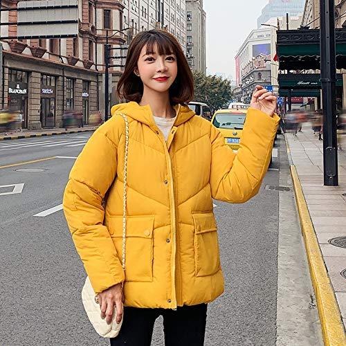 LnNyRf À Capuche en Fourrure Parker Velvet Fashion Manteau Manteau d'hiver de Poche vers Le Bas Veste Veste Confortable Manteau Chaud Manteau extérieur (Color : Yellow, Size : XL)