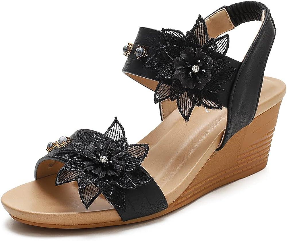 ZAPZEAL Open Toe Sandals Women Summer Shoes Wedge Heel Bohemia Sandals Buckle Beach Flip Flops Comfortable Slippers Platform Flowers Slides Sandals Vacation, Size 6-10 US