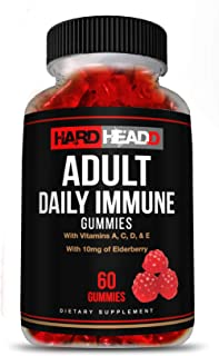 HARD HEADD Adult Daily Immune Gummies with Vitamin A, C, D, & E with 10mg of Elderberry 60 Gummies Made in USA All Natural