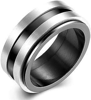 خاتم رجالي عصري من التيتانيوم المقاوم للصدأ خواتم موجزة أسود جولة