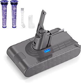 Powerextra Mejorada Batería de Repuesto para Dyson V8 4.0Ah 21.6V Li-Ion Compatible con Dyson V8 Absolute Fluffy Animal Absolute Motorhead Fluffy SV10, 2 Filtros y 1 Cepillo