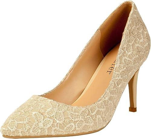 Calaier Femme Cadraw Sweet Nuptiale Grande Taille Ladies Pointe Toe Talon Haut Stiletto Floral Lace Décoration Pompes Chaussures 8.5CM Aiguille Glisser Sur Escarpins