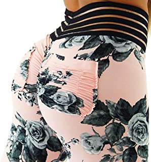 Womens Ruched Butt Lifting Leggings High Waisted Workout Sport Tummy Control Gym Yoga Pants