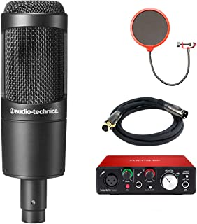 Audio-Technica Cardioid Condenser Microphone (AT2035) with Focusrite Scarlett Solo USB Audio Interface, Deco Gear Premier Series XLR 10' Male to Female Cable & Microphone Wind Screen