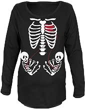 Old Glory Halloween Twin Baby Skeletons Black Maternity Soft Long Sleeve T-Shirt