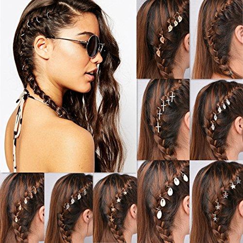 Damen Mädchen Haarschmuck set 60pcs Haarspule Dreadlocks Schmuck hippie Haarnadeln Haarklammer Haarspiralen Curlies Kopfschmuck