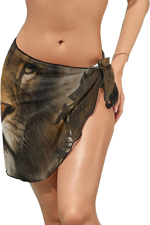 JINJUELS Women Beach Wrap Skirts Fantasy Adventure Lion Personalized Bikini Swimwear Beach Cover Up