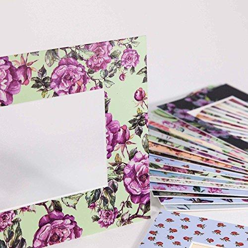 Passepartout Exklusiv Floral - Museumsqualität - Verschiedene Motive in Allen Größen - Floral-0089 (Motiv) - (Außen: 24x30 / für Bildgröße: 15x20)