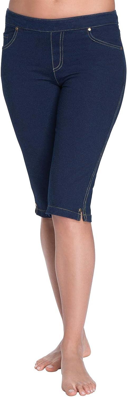 PajamaJeans Bermuda Shorts for Women - Stretch Denim Capri Jeggings
