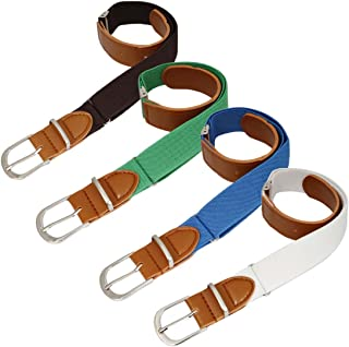 BMC Boys 4pc Assorted Color Adjustable Elastic Band With Leather Loop Belt Set