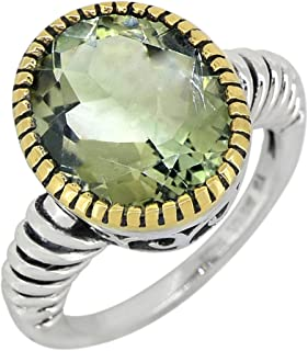 YoTreasure Green Amethyst Solid 925 Sterling Silver Gold Plated Ring Genuine Gemstone Jewelry For Women or Girls Hypoaller...