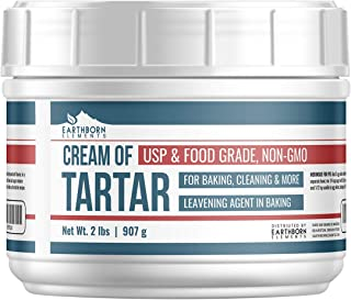 Cream of Tartar (2 lb.) by Earthborn Elements, Mess-Free Resealable Tub, Highest Purity, Baking Additive, Non-GMO, Kosher, Gluten-Free, All-Natural, DIY Bath Bombs