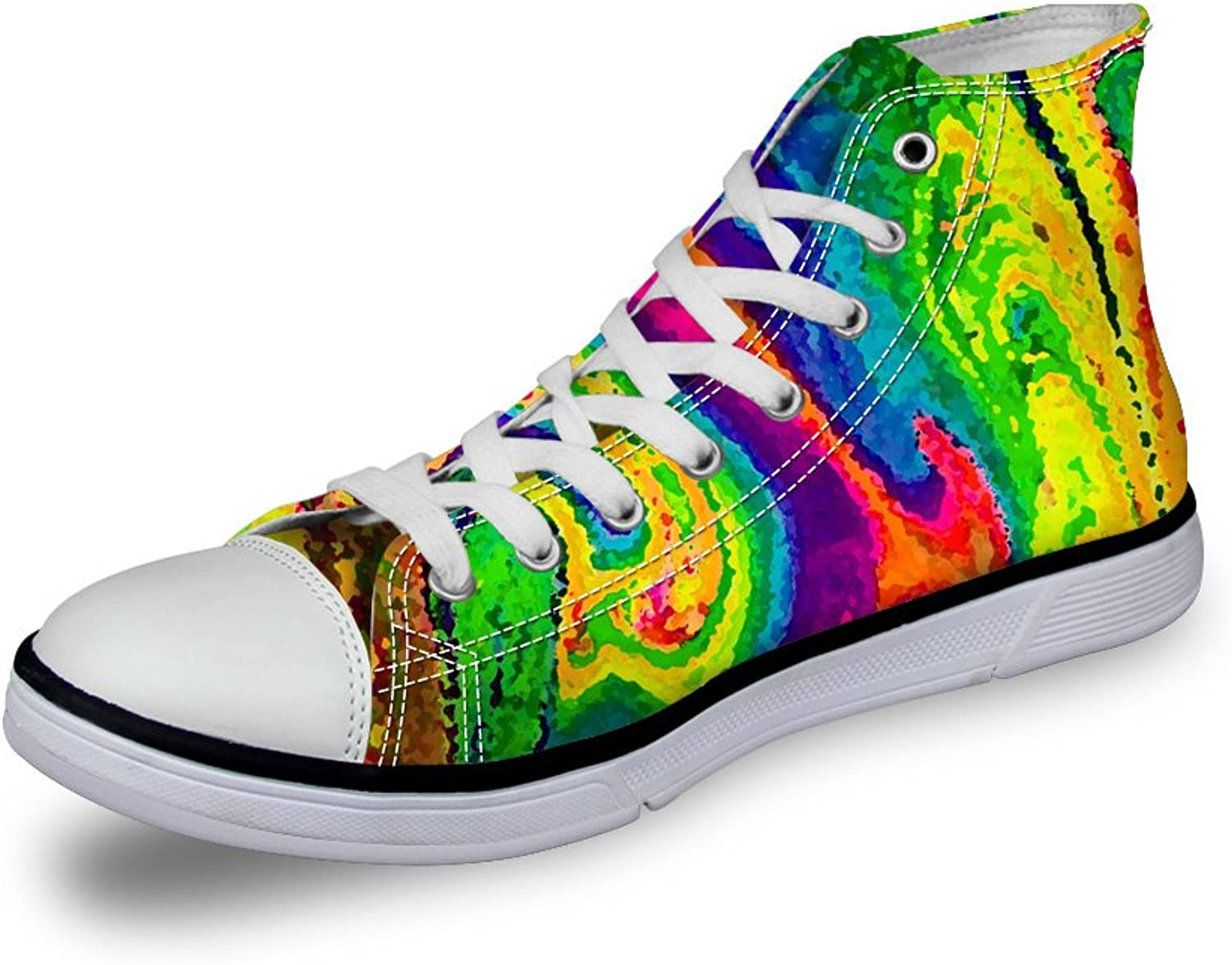 Mumeson colorful Women's Fashion High Top Canvas shoes Trainers Walking Sneakers US 5-11