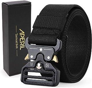 APERIL Cinturón táctico para hombre, 1.5'', estilo militar, ajustable, resistente, de nailon, con hebilla de metal de libe...